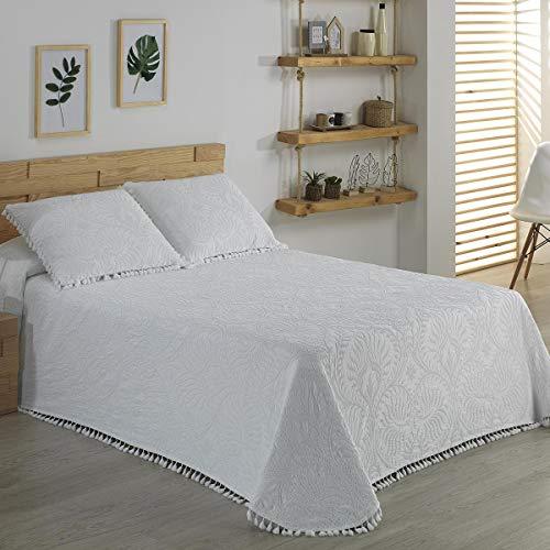 ENCAMA - Colcha Crochet 738 - Cama 150 Cm - Color C01 Blanco