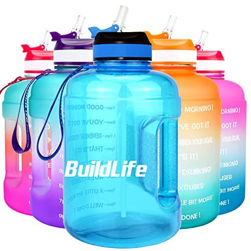 BuildLife - Bottiglia d'acqua motivazionale da 2,2 l, con cannuccia e indicazione del tempo per bere tutti i giorni, senza BPA, riutilizzabile, per palestra, sport