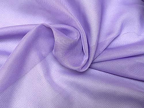 Tela de gasa de poliéster de alta calidad, color lila o rosa, blanco o morado o champán, 150 cm de ancho por 0,5 metros (Lilac)