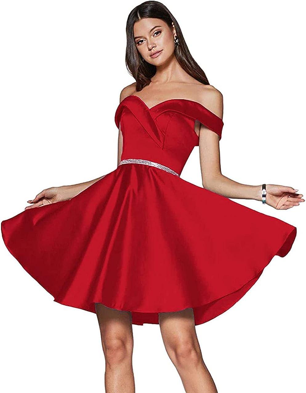 AKHOKA Women's Off Shoulder Satin Homecoming Dresses Short 2021 Beaded Party Dress with Pockets