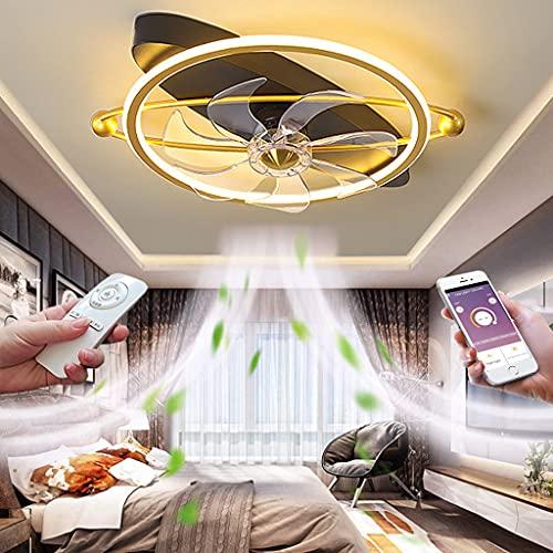 Ventiladores de Techo Silenciosos LED Moderna Luz del Ventilador con Mando a Distancia Regulable Fan Lámpara Colgante para Dormitorio Salón 3 Velocidades Interior Iluminación Ø50*25CM