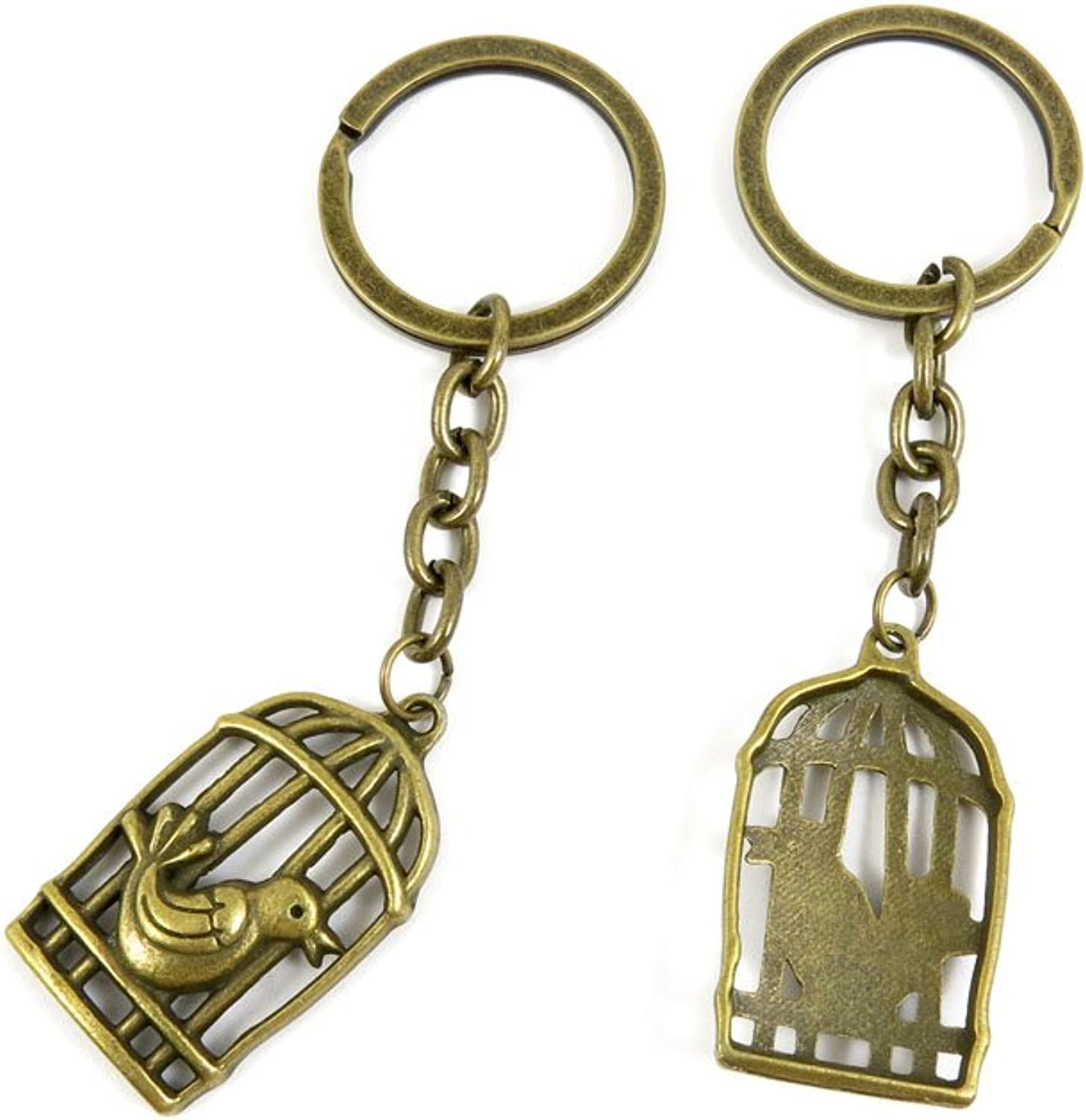 100 PCS Keyrings Keychains Key Ring Chains Tags Jewelry Findings Clasps Buckles Supplies A2MP6 Birdcage