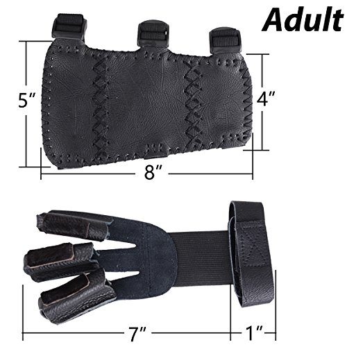 XTACER (Finger Protector & Arm Guard) 3-Strap Leather Arm Guard with Three Fingers Design Archery Finger Protector Traditional Shooting Glove Fits for Hunting Recurve Bow