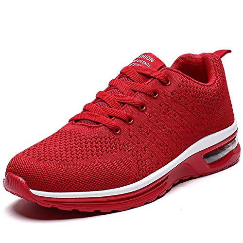 Women Tennis Shoes Lightweight for Ladies Work Gym Jogging Walking Running Athletic Air Cushion Fashion Sneakers (7, Red)