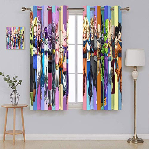 Blackout Curtains for Bedroom Dragon Ball Dragon Ball Z Home Decor Window Drape Curtain Panel Pair with Grommet Top 42x54 Inch