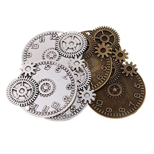 Dailymall 6 Piezas Vintage Metal Mezclado Steampunk Gear Reloj Charms DIY Joyas Accesorios