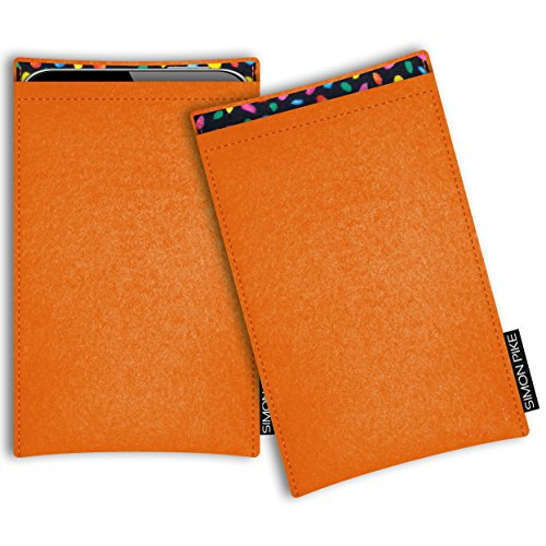 SIMON PIKE Hülle Tasche kompatibel mit Motorola Razr 5G | Filztasche Boston in 13 orange aus Filz (echtem Wollfilz) Handyhülle