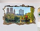 DCJ Pegatina de pared Nueva York Central Park Wall Sticker 3D Art Poster Mural Decoración