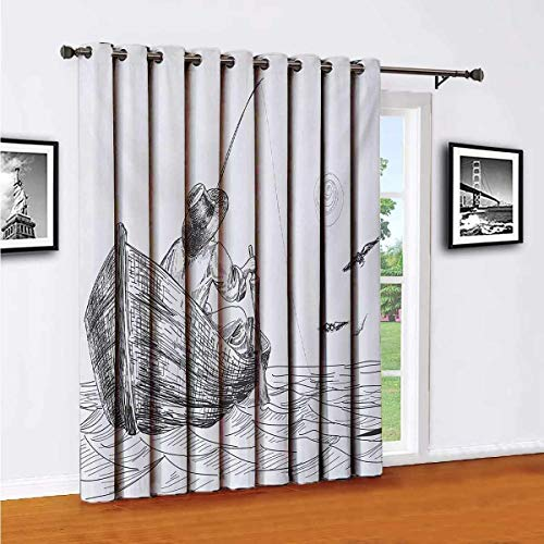 Seagulls Sliding door shades,patio curtains,Fisherman with Hat in Boat on Sunny Day Pencil Sketch Styled Illustration Insulated wide curtains/bedroom curtains(Single panel) W52 x L63 InchCharcoal Gre