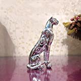 WLGQ Estatua de Pantera Estatuilla de Leopardo galvanizado Escultura de Vida Silvestre Resina Artesa...