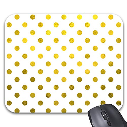 """Modern Gold Leaf Metallic Faux Foil Small Polka Dot White Mouse Pad 9.5 x 7.9"""" - Office Gaming Desktop Accessory"""