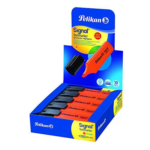 Pelikan Evidenziatori, Signal, Arancione, Confezione Risparmio da 10 Pezzi, Cappuccio con Clip, Prodotto in Germania