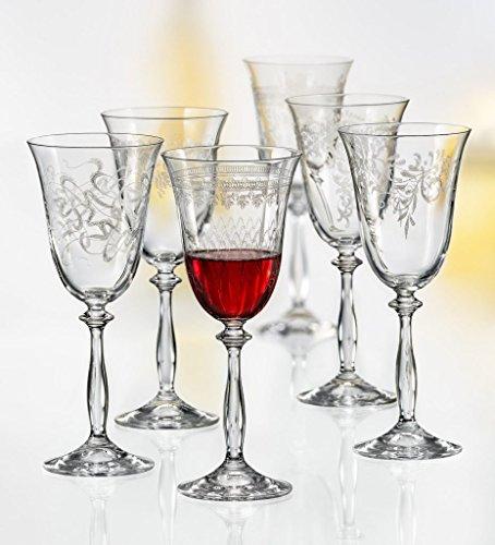 Bohemia Kristall Gläser - Royal - 6 er Set- mit verschieden Ornamenten (Rotweingläser 6 x 350 ml)