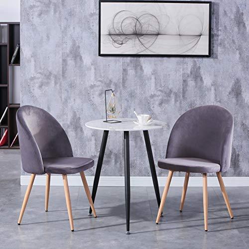 GOLDFAN Esstisch mit 2 Stühle klein Marmor Runder Tisch und Grau Sessel Samt Stuhl für Wohnzimmer Küche usw 60x60x75cm