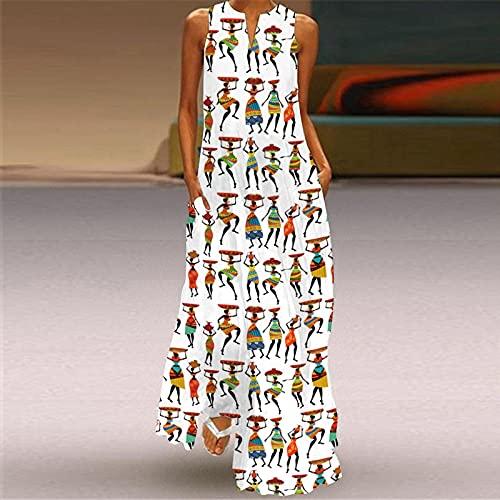 Vestidos Mujer Maxi,Vestido De Mujer Estilo Indio Bohemio Estampado En 3D Escote En V Blanco Sin Mangas Vestido Maxi Bolsillo Falda Oscilante De Gran Tamaño Informal Fiesta De Primavera Y Otoño Ve