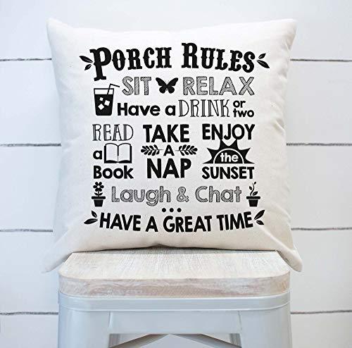 Porche Rules - Funda de almohada, decoración de porche frontal, cojín de porche, decoración de patio