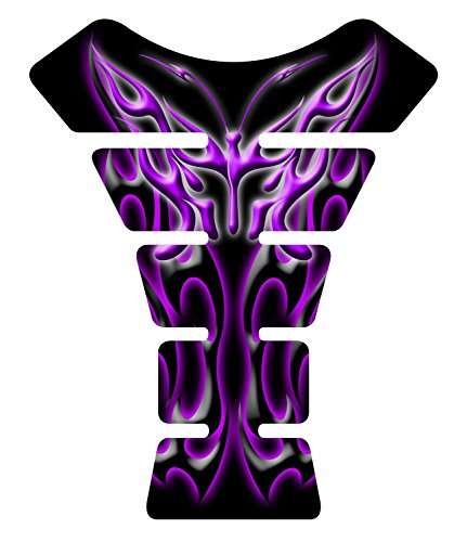 Black Purple Flaming Butterfly Gel Motorcycle Gas Tank Pad Protector Decal