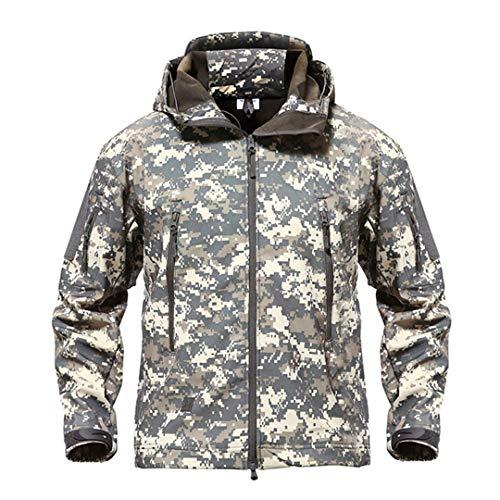 Outdoor Softshell Veste imperméable Randonnée de Camping Hommes Chasse Tactique Militaire Manteau d'hiver Coupe-Vent Coupe-Vent ACU XS