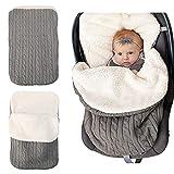 Neugeborenes Baby Wickeldecke, dicke warme Kinderwagen Strickdecke plus Samt, Baby Kind Kleinkind Fleece Schlafsack Schlafsack Kinderwagen Warp für Baby Mädchen oder Jungen
