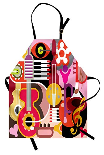 Ambesonne Music Apron, Complex Graphic with Various Musical Properties Keyboard Festival Piano Design, Unisex Kitchen Bib with Adjustable Neck for Cooking Gardening, Adult Size, Pink Red