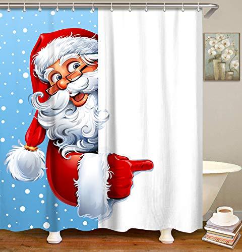 LIVILAN Duschvorhang-Set mit Weihnachtsmann-Motiv, mit 12 Haken, dekorativer Duschvorhang, hellblau, 183 x 183 cm