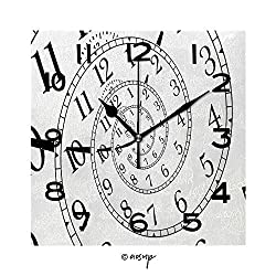 SUPFENG Square Wall Clock Detail of A Used Mechanical Clock with Hypnotic Quadrant, Very Flexible Concept 8 inch Morden Wall Clocks Silent Square Decorative Clock No-59928