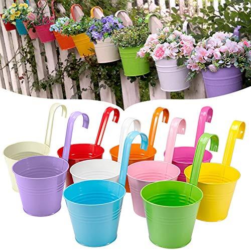GeeRic Pots de Fleurs Suspendus en Fer en métal, 10 pièces, jardinières Jardinières de Balcon Porte-Fleurs en métal, Crochet Amovible (Multicolore (3,9 '')