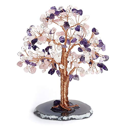 CrystalTears 7 Chakra Crystal Money Tree Natural Healing Crystal Bonsai Tree Sculpture Figurines Tumbled Gemstone Tree Ornament with Agate Slice Geode Base for Healing Home Decoration Gift 5.5'-6.3'