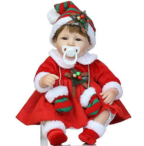 NPK Reborn Baby Dolls Girls Xmas Present Soft Silicone Vinyl Reborn Baby Lifelike Newborn Baby Doll 18 Inchs Reborn Dolls Red Christmas Day Dress