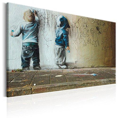 murando - Bilder Banksy Kids Painting 120x80 cm Vlies Leinwandbild 1 TLG Kunstdruck modern Wandbilder XXL Wanddekoration Design Wand Bild - Poster Kinder Mural Graffiti i-B-0024-b-d