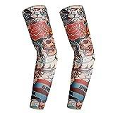 CHICAI 3 Pares de Mangas de Tatuajes temporales, Mangas de Brazo de protección Solar UV, Mangas de enfriamiento por compresión, for Fiesta Unisex Hombres Frescos Mujeres (Color : D)
