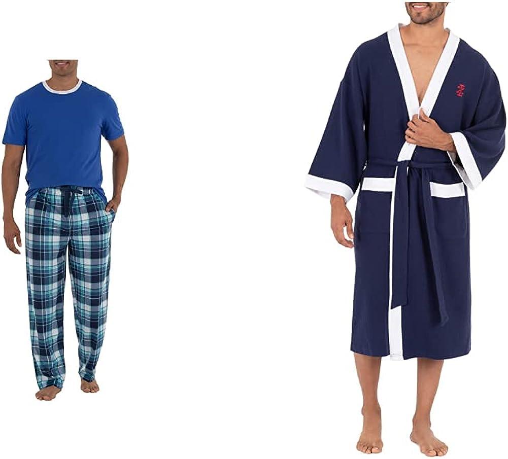 IZOD Men's Short Sleeve Jersey Knit Top and Lite Touch Fleece Pants Sleep Set, Bright Blue, Medium & Waffle Knit Kimono Robe, Magellan Blue, One Size