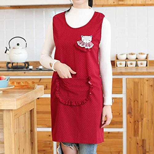 LYDCX (2 Piezas Delantal De Algodón Hembra Adulto Otoño E Invierno Cocina De Moda Larga Delantal De Cocina Casera Mono Adulto Rojo