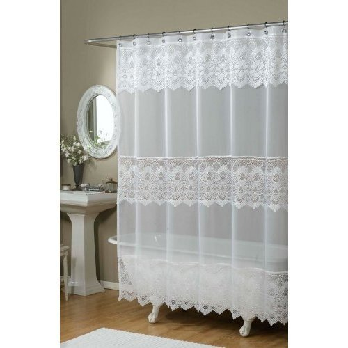 clear white lace shower curtain