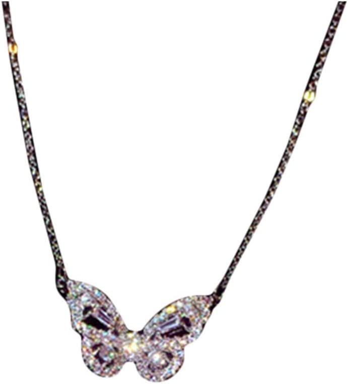 Huangyong Sterling Colorful Sparkling CZ Lovely Butterfly Long Chain Pendant Choker Y-Necklace,Platinum