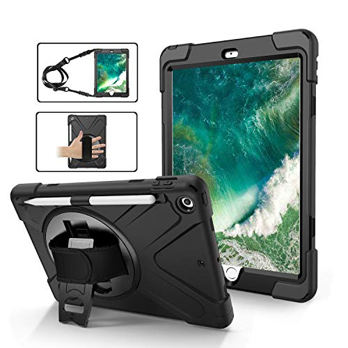 iPad 5th Generation Case for Kids   TSQ iPad 6th Generation Case with Pencil Holder Heavy Duty Shockproof   Durable Rugged Protective Case w/Swivel Stand Hand Shoulder Strap for iPad 9.7 Inch   Black