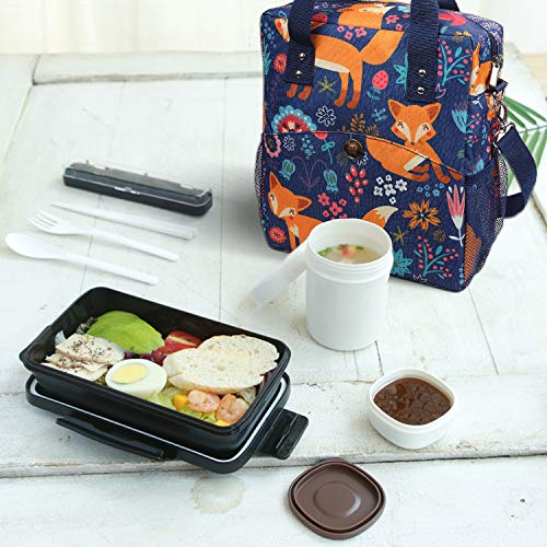 Anpro Insulated Lunch Bag 12L -  Fox Pattern with Adjustable Shoulder Straps