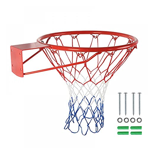 Suprapid Red Basketball Rim Hoop, Heavy Duty Basketball Net Replacement, Standard Basketball Hoop Fit Most Size Backboards Indoor and Outdoor (18')