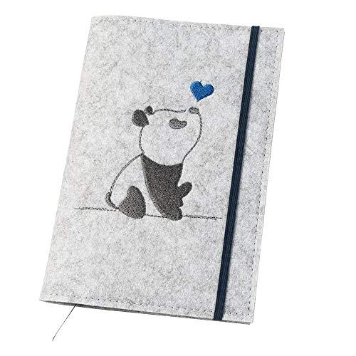 U-Hefthülle 'Panda' aus Filz, hellgrau/blau (Farbe/Motiv wählbar)   Bestickte Hülle 2in1 für Uheft & Impfpass mit Gummiband, farbigen Fächern & Lesezeichen