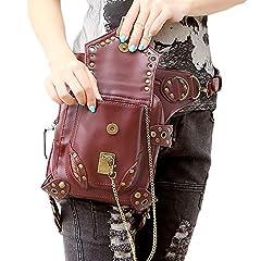 FiveloveTwo® Men Women Multi-purpose Tactical Drop Leg Arm Bag Pack Hip Belt Waist Messenger Shoulder Fanny Packs Steampunk Bag Wallet Purse Pouch Bag Red Brown #1