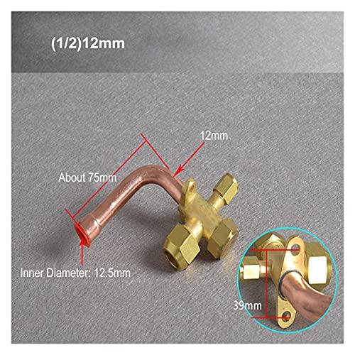XIAOLU Valvola del condizionatore d'Aria addensante 6/10/12/16 / 19mm BSP. Thread 3 Way Bend Flare Tube Valvola di espansione Valvola di espansione Adatta per Il condizionatore d'Aria (Color : 12mm)