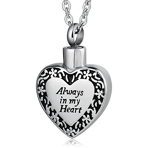 Epinki Collar Urna Acero Inoxidable Always in my Heart Flor Corazón Plata Grabar Cenizas Collar para Memorial