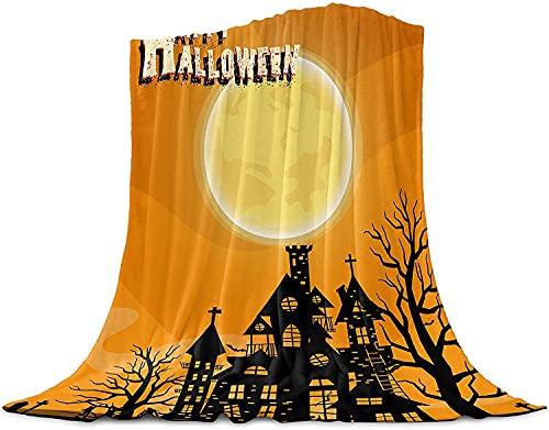 Halloween Naranja Noche de Luna Castillo de Tirar de la Manta de Franela Manta de Lana, Manta Liviana para Adultos Bebé de la Microfibra de la Siesta Manta para el Sofá, la Cama, el Sofá,40'x50'