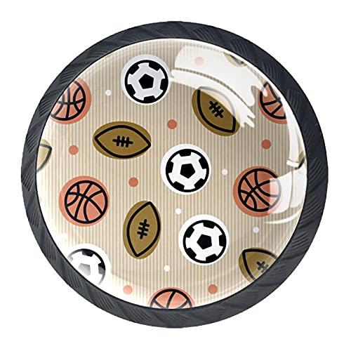 (4 piezas) pomos de cajón para cajones, tiradores de cristal para gabinete con tornillos para armario, hogar, oficina, armario, fútbol, rugby, baloncesto, 35 mm