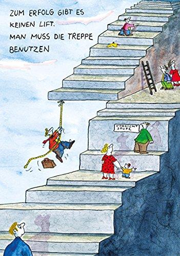 Postkarte A6 • 43001 ''Treppe zum Erfolg'' von Inkognito • Künstler: Papan • Satire • Cartoons