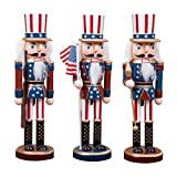 HongTeng Weihnachtsdekorationen 9,8-Zoll-3er-Set aus Holz American Christmas Nussknacker Figuren Uncle Sam mit USA-Flagge Handwerk Puppen Desktop-Ornamente