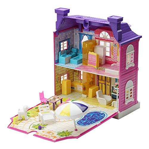 Zhou-YuXiang DIY Puppenhaus mit Möbeln Miniaturhaus Luxus Simulation Puppenhaus Zusammenbau Spielzeug für Kinder Kinder Geburtstagsgeschenke