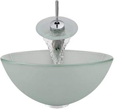 Ring and Waterfall Faucet Brushed Nickel MR Direct Sink Moraine Glass Vessel Aurora Sinks G10-Moraine-BN-G Bathroom Ensemble with Grid Drain