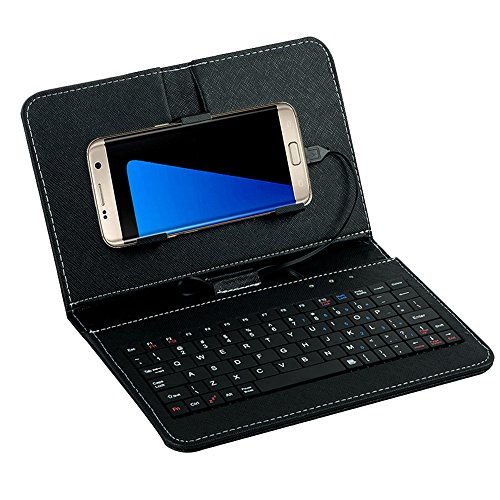 Tonsee General Wired Keyboard Flip Holster Case for Andriod Mobile Phone 4.2''-6.8'',Schwarz