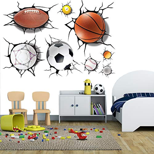 3D Rugby Football Basketball Volleyball Soccer Ball Wall Decals Stickers Wall Stickers Decals Wall Decor Decals Wall Decor Sports Decals Wall Murals Decoration Décor Poster Nursery (Football Decal)